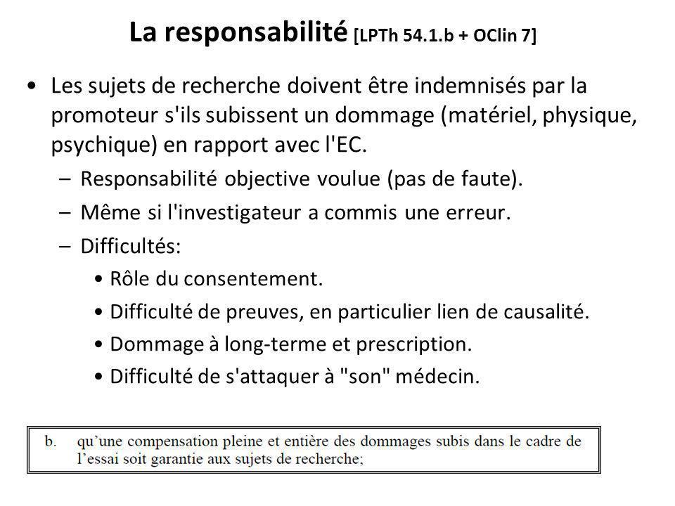 La responsabilité [LPTh 54.1.b + OClin 7]